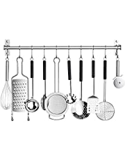 Kitchen Sliding Hooks, Stainless Steel Utensil Hanging Rack with 10 Removable S Hooks,Wall Mounted Kitchen Rail Organizer for Pot Lid Pan, Spoon, BBQ Tools,Cookware Hanger Bar(Utensils Not Include)