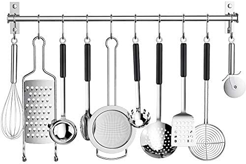 Kitchen Sliding Hooks Stainless Steel Utensil Hanging Rack With 10 Removable S Hooks Wall Mounted Kitchen Rail Organizer For Pot Lid Pan Spoon Bbq Tools Cookware Hanger Bar Utensils Not Include She S Got Flavor