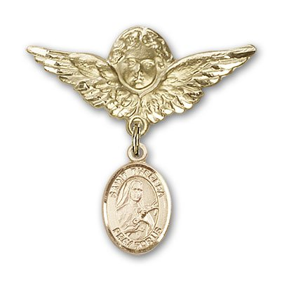 ReligiousObsession's 14K Gold Baby Badge with St. Theresa Charm and Angel with Wings Badge Pin by Religious Obsession