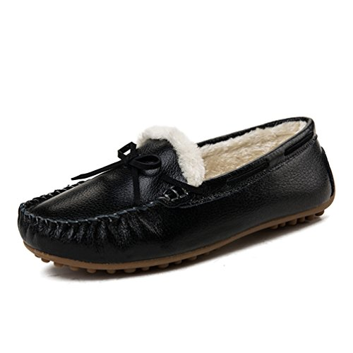 Sunrolan Demi Dames Leren Mocassins Slip-on Penny Loafer Jurk Platte Schoenen Zwart (faux Fur Gevoerd)