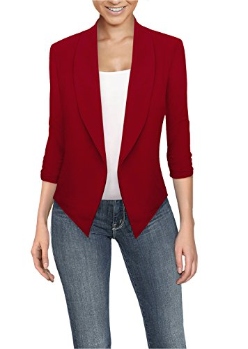 Womens Casual Work Office Open Front Blazer JK1133 RED Small