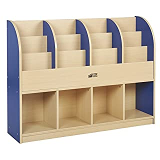 ECR4Kids Colorful Essentials Single-Sided Book Display and Storage Cabinet - Standard - Maple/Blue