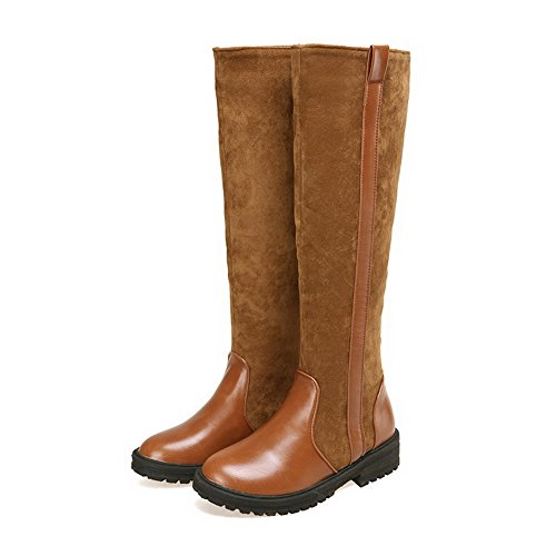 AgooLar Damen Niedriger Absatz Ölige Leder Rein Ziehen auf Rund Zehe Stiefel Braun