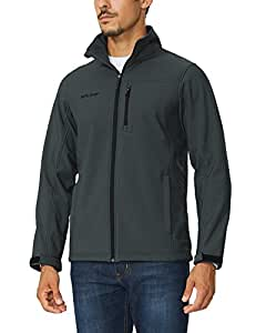 Baleaf Men's Waterproof Windproof Outdoor Softshell Jacket Microfleece Lined Gray Size S
