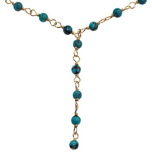 Handmade 14-kt Gold Filled Brass Y-Necklace with Turquoise Beads, 20