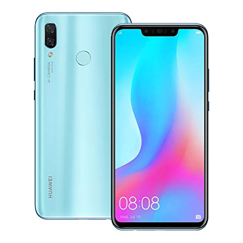 Huawei nova 3 (PAR-LX9) 6GB / 128GB 6.3-inches LTE Dual SIM Factory Unlocked - International Stock No Warranty (Airy Blue)
