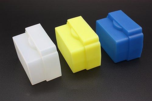 CEARI 3 Color Silicone Flexible Flash Bounce Diffuser Softbox for Nikon SB800 SB700 SB600 Nissin Di622 Mark II Di700 Sony HVL-F60AM Speedlite (White Blue Yellow) + MicroFiber Clean Cloth