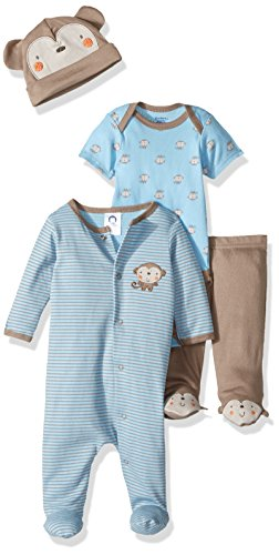 Infants Footed Pant - Gerber Baby Boy 4 Piece Sleep 'n Play, Onesies, Footed Pant and Cap Set, Monkey, 0-3 Months