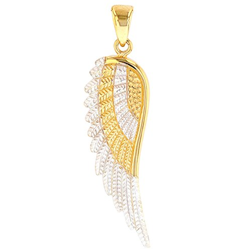 JewelryAmerica Solid 14k Yellow Gold Textured Angel Wing Charm Pendant
