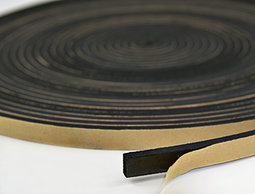 Neoprene Foam Weather Seal High Density Stripping with Adhesive Backing 1/2 Inch Wide 1/8 Inch Thick 50 Feet Long