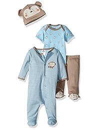 Gerber baby-boys Baby Boy 4 Piece Sleep 'N Play, Onesies, Footed Pant and Cap Set