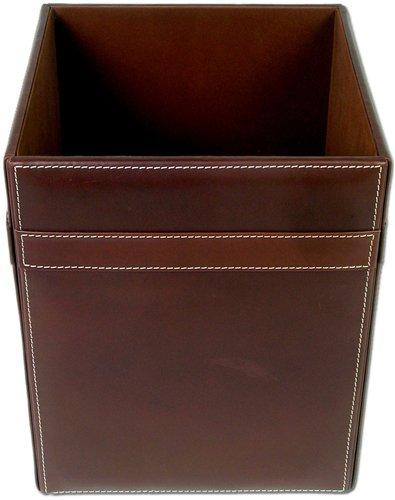 Rustic Genuine Leather Executive Waste Basket, Brown