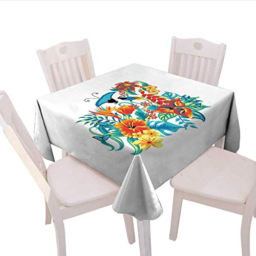 Home-textile-print Flowers Printed Tablecloth Tropical Exotic Jungle Foliage with Birds Hawaiian Island Flowers Retro Flannel Tablecloth 50x50 (inch) Blue Turquoise Orange -