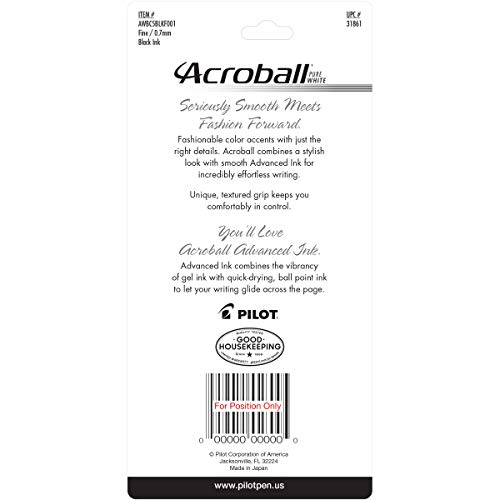 Pilot Acroball PureWhite Retractable Ball Point Pens