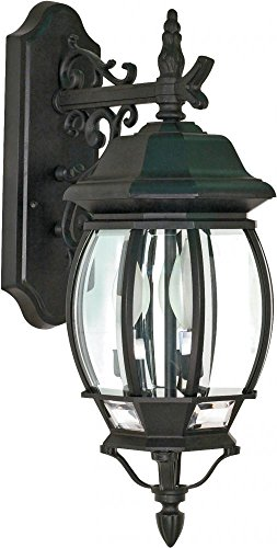 Nuvo 60/893 Textured Arm Down, Wall Lantern with Clear Beveled Panels, Textured Black, Large Large Wall Fixture