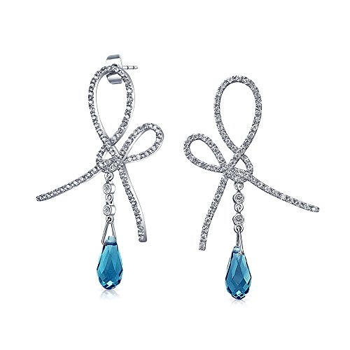- Aqua Blue Ribbon Bow Drop Earrings For Women Briolette Faceted Teardrop Pear Shaped Cubic Zirconia CZ Silver Plate Brass