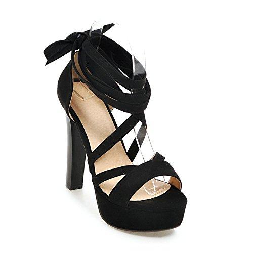 Women Sandals High Heel Summer Women Shoes Bow Tie Gladiator Black Flock Ladies Shoes,Negro,6