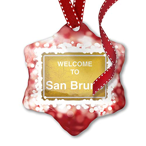 NEONBLOND Christmas Ornament Yellow Road Sign Welcome to San Bruno, ()