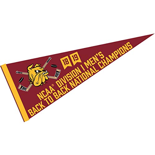 College Flags and Banners Co. Minnesota Duluth Bulldogs Back to Back D1 Hockey National Champions Pennant