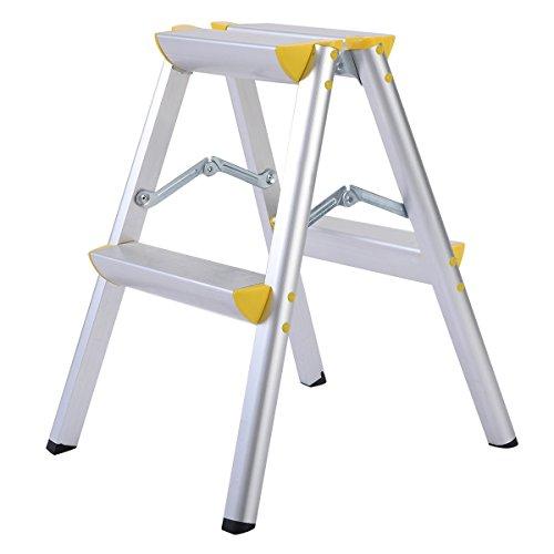 Allbest2you 2 Step Aluminum Ladder Folding Platform Safety Work Stool 330 lbs Load Capacity