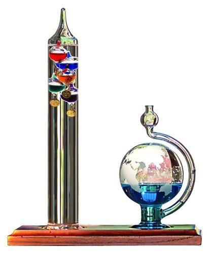 AcuRite 00795A2 Galileo Thermometer with Glass Globe Barometer