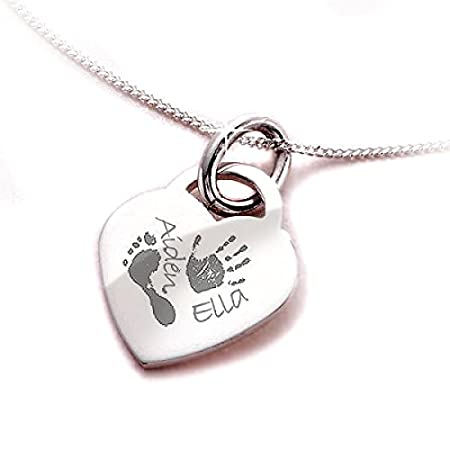 jewellery necklace or handprint heart round hand footprint necklaces on