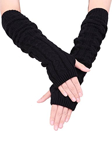 Colorful House Fingerless Thumb Hole Long Gloves Mittens Winter Arm Warmer (Black) -