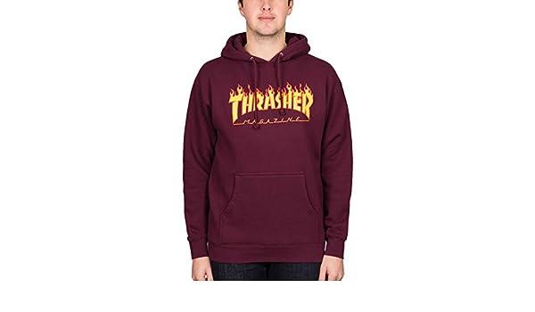 THRASHER Sudadera con Capucha Flame Logo Hoodie Maroon: Amazon.es: Ropa y accesorios