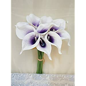 "Sweet Home Deco Latex Real Touch 15"" Artificial Calla Lily 10 Stems Flower Bouquet for Home/Wedding 15"