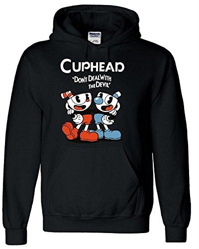NoveltyBoy Cuphead Costume Black Hoodie Cuphead Don't Deal With Devil Coat Sweatshirt (Large, Style (Rap Songs About Halloween)