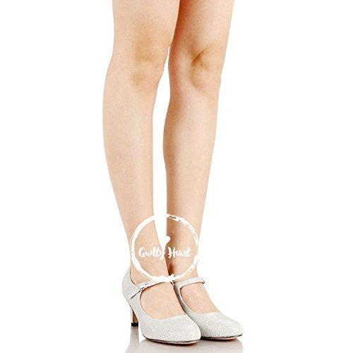 Chase & Chloe Kona-2 Women's Round Toe Mid Heel Mary Jane Pump (6.5 M US, Silver Glitter) - Chloe Womens Apparel