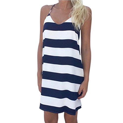 Kingko Give yourself a sexy Sommergeschenk Frauen Casual Streifen Kleid V Kragen Kleid ärmellose Weste