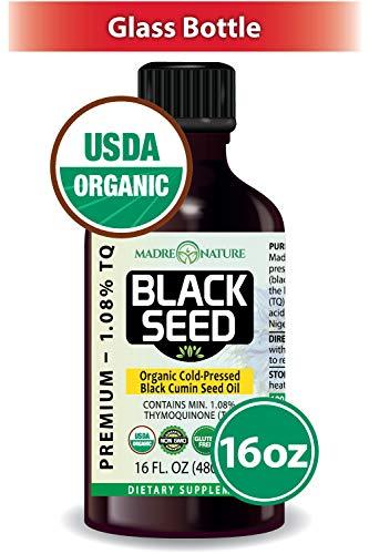 Madre Nature USDA Organic Premium Black Seed Oil | Glass Bottle | 16 Ounce | Nigella Sativa | Black Cumin | Undiluted | Cold Pressed | No Solvents | Certified Vegan | Non-GMO