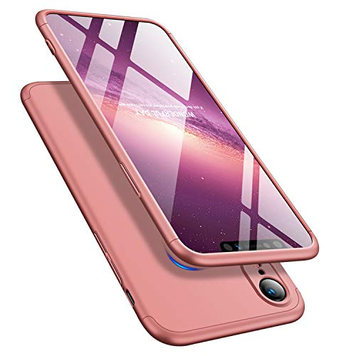 iPhone XR 6.1'' Case 360 Degree Slim Cover Shockproof Full Body Coverage Hard Protective Case + Tempered Glass Screen Protector (Rose Gold)