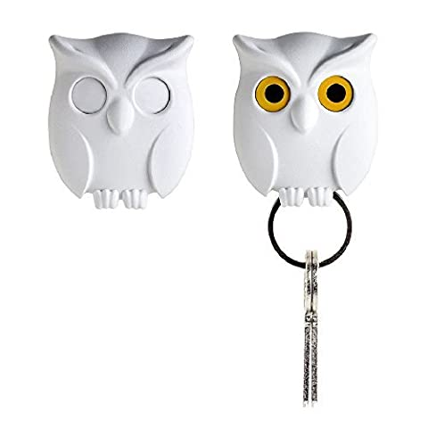 Night Owl Keyring Holder by Qualy Design Studio. White Color. Cool Home Decor. Unusual Wall Decoration. Unique (Cabinet For Sheet Music)