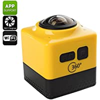360 Degree Wi-Fi Action Camera - 1280x1024 Resolution, 1/4 Inch CMOS Sensor, Four Shooting Modes, SD Card (Yellow)