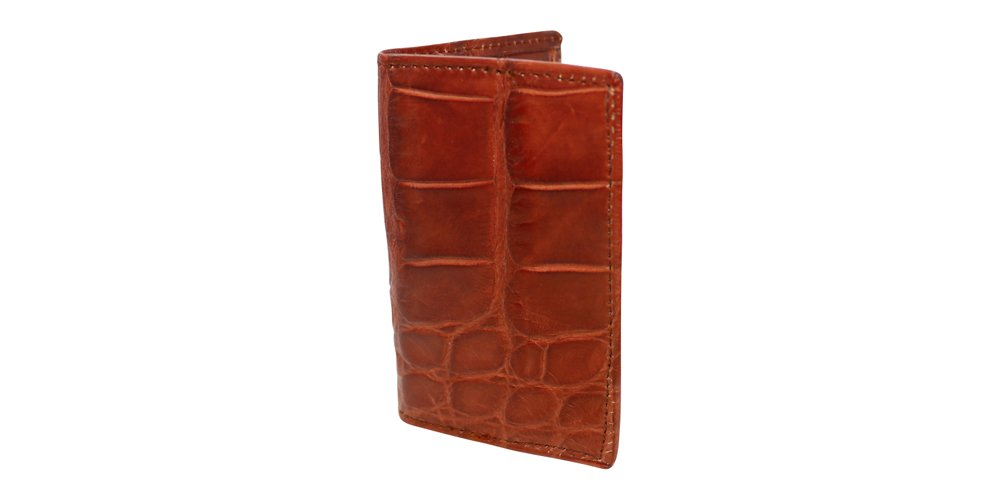 Cognac Genuine Millennium Alligator Gusseted Business/Credit Card Case Wallet – Alligator Inside and Out - Brown & Cognac - Factory Direct Made in USA by Real Leather Creations FBA302