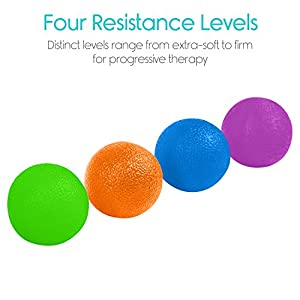 Hand Therapy Balls by Vive - Grip Strengthening Exercise Kit for PT - Therapeutic Squishy Stress and Pain Relief Set - Fidget Finger and Forearm Workout - Muscle Resistance Strength Egg Trainers