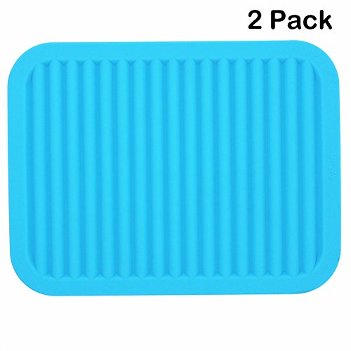 Lucky Plus Silicone Drying Mat for Dish Hot Pads for Counter Top,Pan and Pot Heat Resistant Hot Protector Workshop,Coffee Trivet Mat or Placemats 2 Pack,Size:9x12 Inch, Color: Blue,Shape:Rectangular (Plus Mat)
