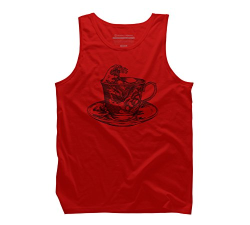 classic cup of coffee and the oriental wave Men's 2X-Large Red Graphic Tank Top