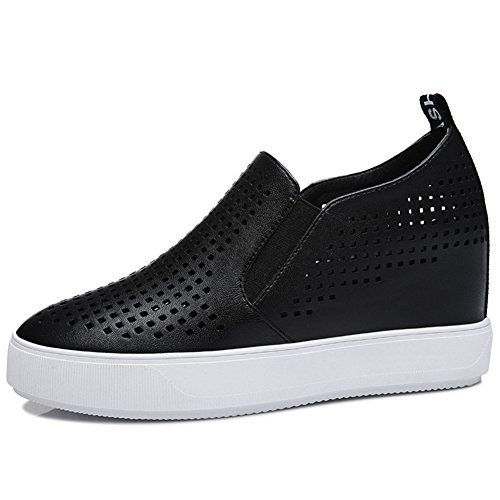 Casual Side Increased Round Toe Shoes Womens Sneakers MAC Flat Inside U Orifice Black Shoes fzwqaP6z