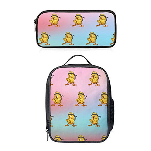 SARA NELL Lunch Backpack Little Chick Lunch Bag&Pencil case Set with Padded Straps for Boys Girls