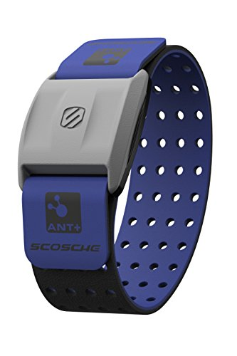 Scosche Rhythm+ Heart Rate Monitor Armband - Blue - Optical Heart Rate Armband Monitor with Dual Band Radio ANT+ and Bluetooth Smart (5 Latex New Looks)