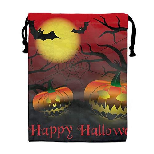 Halloween Carved Pumpkins Drawstring Backpack Kids String Cinch Tote Bag