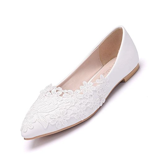 Pompe Ballerina white 35 Signore eur37 Damigella Dimensione D'onore Scarpe Per 42 Sposa Donne Suluccichio uk5 Nuziale Pizzo Scivolare Balletto Bianca Caricatori Le Appartamenti UqxRapZ