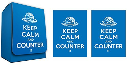 KEEP CALM and COUNTER it- 100 Iconic Elemental Blue Shuffle-Tech GLOSS Finish Sleeves + Deck Box by MAX PRO (fits Magic / MTG Cards)