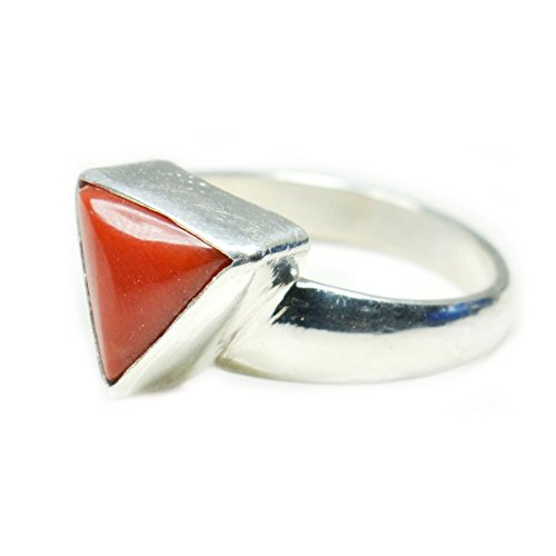 Jewelryonclick Natural 3 Carat Triangle Coral Silver Rings for Women Chakra Healing Gemstone in Size 5-13