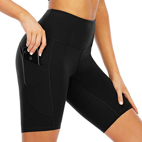 scicent Korte sportbroek voor dames, yogabroek, fietsbroek met zakken, ondoorzichtig, hoge taille, 34-46