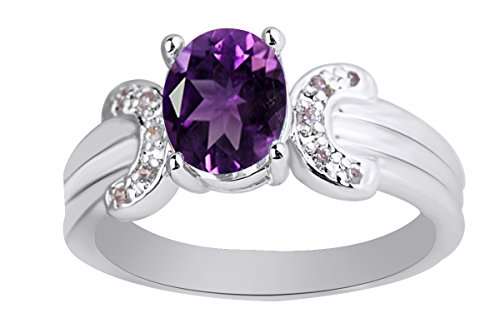 AFFY 6x8 mm Simulated Oval Cut Amethyst & Pink Tourmaline Solitaire Ring in 14k White Gold Over Sterling Silver Ring Size - 7.5