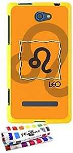 Carcasa Flexible Ultra-Slim HTC 8S de exclusivo motivo [Zodiac - leon] [Amarillo] de MUZZANO  + ESTILETE y PAÑO MUZZANO REGALADOS - La Protección Antigolpes ULTIMA, ELEGANTE Y DURADERA para su HTC 8S
